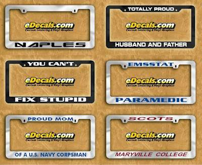 white license plate frames