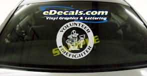 Volunteer Firefighter Cartoon Decal CRT325