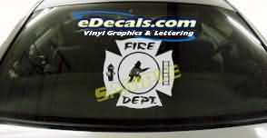 Volunteer Firefighter Cartoon Decal CRT330