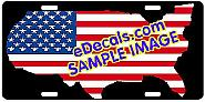 American Flag USA Cutout Aluminum License Plate LIC104