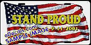 American Flag Stand Proud Aluminum License Plate LIC109