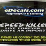 BMP121 Speed Kills Bumper Sticker Decal
