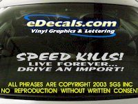 BMP121 Speed Kills Bumper Sticker Decal