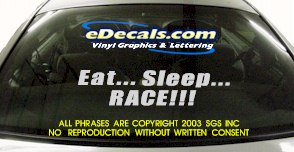 BMP127 Eat Sleep Race Bumper Sticker Decal