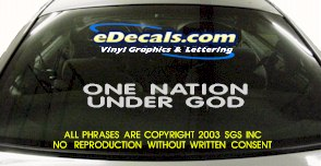 BMP132 One Nation Under God Bumper Sticker Decal