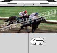 CLR102 Racehorses Vision Rear Window Mural Decal