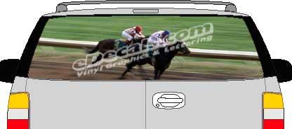 CLR102 Racehorses Vision Rear Window Mural Decal