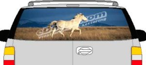 CLR106 White Horse Vision Rear Window Mural Decal