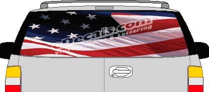 CLR109 American Flag 1 Vision Rear Window Mural Decal