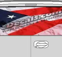 CLR110 American Flag 2 Vision Rear Window Mural Decal