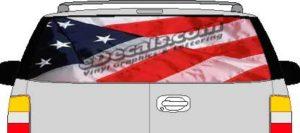CLR110 American Flag 2 Vision Rear Window Mural Decal