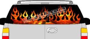 CLR111 Fire Flames Vision Rear Window Mural Decal