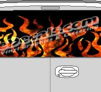 CLR112 Fire Flames 2 Vision Rear Window Mural Decal