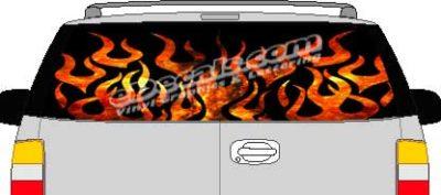CLR112 Fire Flames 2 Vision Rear Window Mural Decal