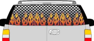 CLR116 Checkered Flame I Vision Rear Window Mural Decal