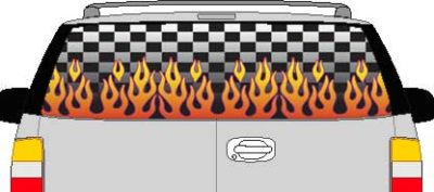 CLR117 Checkered Flame II Vision Rear Window Mural Decal
