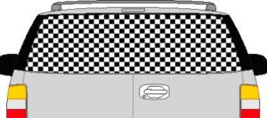 CLR118 Checkered I Vision Rear Window Mural Decal