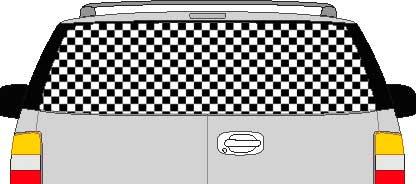 CLR118 Checkered I Vision Rear Window Mural Decal