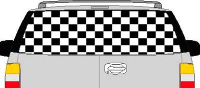 CLR119 Checkered II Vision Rear Window Mural Decal