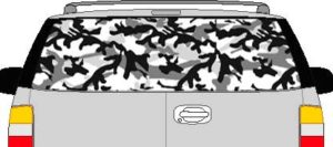 CLR123 Urban Camoflage I Vision Rear Window Mural Decal
