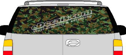 CLR126 Dark Thick Camoflage I Vision Rear Window Mural Decal