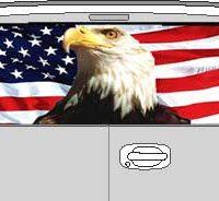 CLR128 Eagle Flag I Vision Rear Window Mural Decal