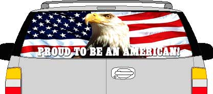CLR129 Eagle Flag Proud To Be An American Vision Rear Window Mural Decal