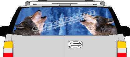 CLR132 Wolves Vision Rear Window Mural Decal