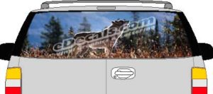 CLR133 Wolf I Vision Rear Window Mural Decal