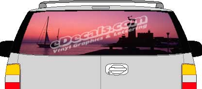CLR136 Sunset On Water Vision Rear Window Mural Decal