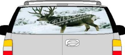 CLR137 Snow Deer Vision Rear Window Mural Decal