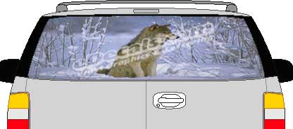 CLR140 Snow Wolf Vision Rear Window Mural Decal
