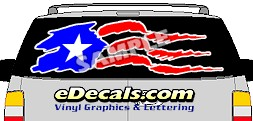 CLR145 Puerto Rico Flag II Vision Rear Window Mural Decal