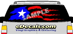 CLR146 Puerto Rico Flag I Vision Rear Window Mural Decal