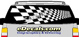 CLR149 Perspective Checkered Vision Rear Window Mural Decal