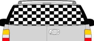 CLR157 Checkered Flag V Vision Rear Window Mural Decal