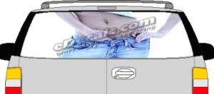 CLR160 Belly Button Vision Rear Window Mural Decal