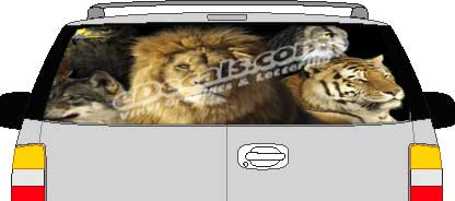 CLR169 Lions & Tigers Vision Rear Window Mural Decal