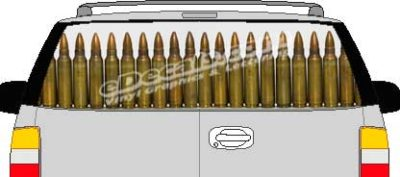 CLR170 M16 Bullets Military Vision Rear Window Mural Decal