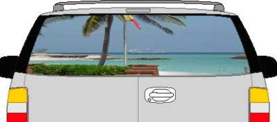 CLR185 Bahamas View Vision Rear Window Mural Decal