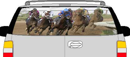 CLR196 Race Horses Vision Rear Window Mural Decal