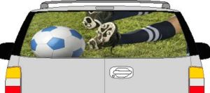 CLR200 Soccer Kick Vision Rear Window Mural Decal