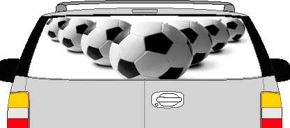 CLR201 Soccer Balls Vision Rear Window Mural Decal