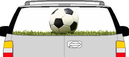 CLR202 Soccer Ball Grass Vision Rear Window Mural Decal