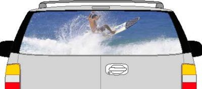 CLR203 Surf Surfing Waves Vision Rear Window Mural Decal