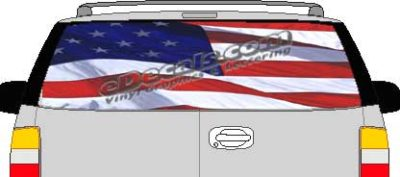 CLR207 American Flag Waving Vision Rear Window Mural Decal