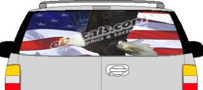 CLR209 Eagle American Flag V Vision Rear Window Mural Decal