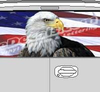 CLR210 Eagle American Flag VI Vision Rear Window Mural Decal