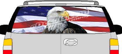 CLR210 Eagle American Flag VI Vision Rear Window Mural Decal