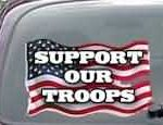 CNF164 Support Our Troops Patriotic American Flag Decal